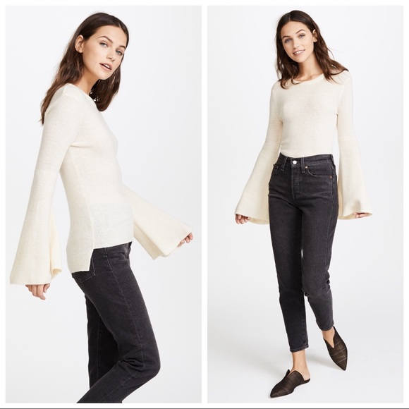 J.O.A. Tops - J.O.A. Bell Sleeve Rib Knit Top in Beige